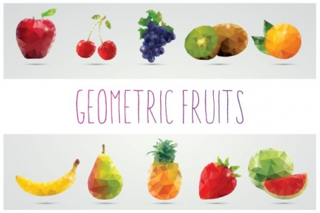 Collection of 10 Geometric Fruits