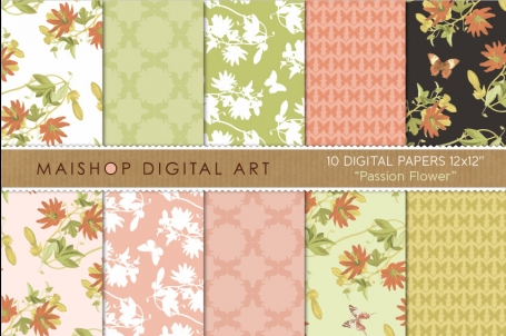 Digital Paper - Passion Flower