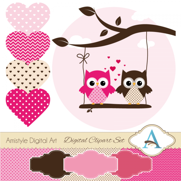 Owl Amp Valentine Themed Clipart And Digital Paper Set