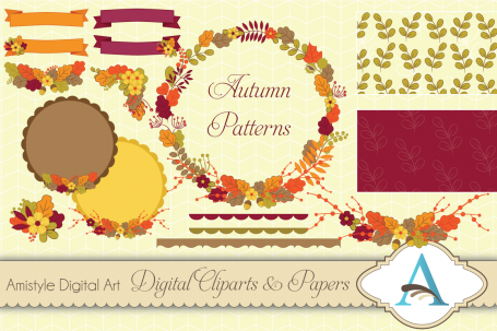 Autumn Flower Clipart, Paper &