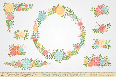 Floral Bouquet Clipart Set