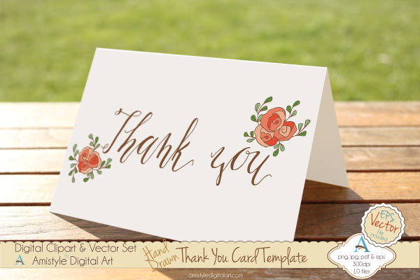 thank you - peach rose - greeting card template  u0026 clipart   printables