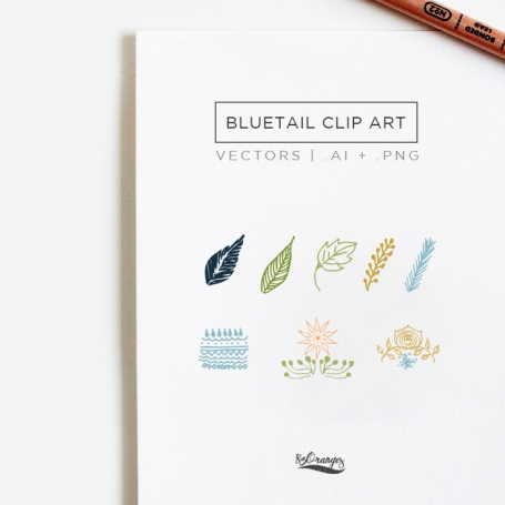 Bluetail Hand Drawn Clip Art