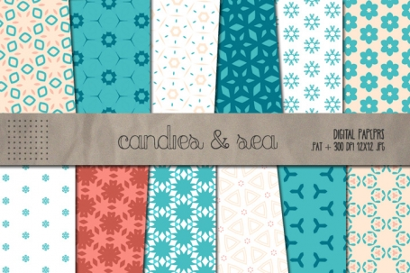 Candies & Sea Seamless Patterns