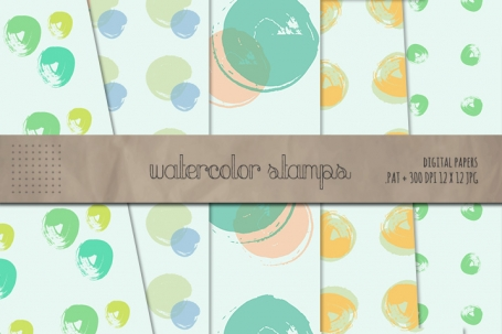 Watercolor Stamp Patterns