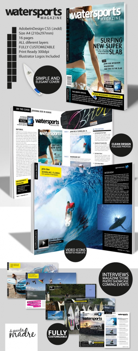 WaterSports Indesign Magazine