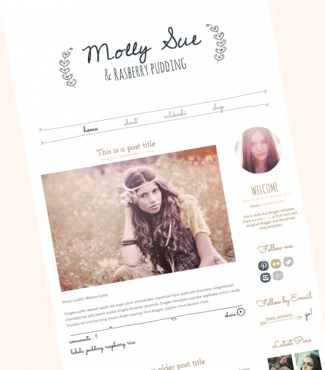 Hand drawn Blogger Template Molly