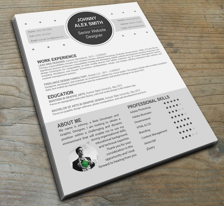 Resume template for Web Designers
