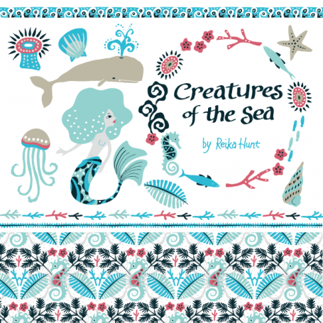 Creatures by the Sea Clip Art