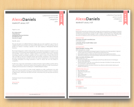 Pink and Grey Resume Template and