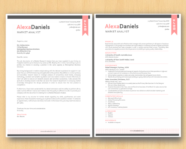 pink and grey resume template and cover letter print