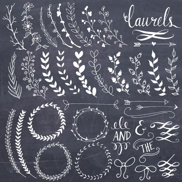 Chalkboard Laurels & Wreaths Clip Art