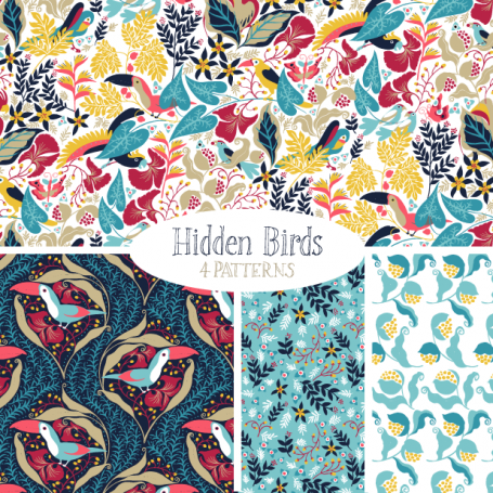 Hidden Birds - Pattern Set (vector)