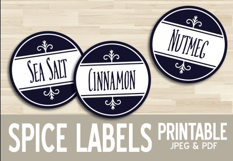 "2"" Printable Spice Labels:"