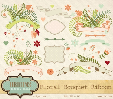 Floral Love Ribbon Clipart
