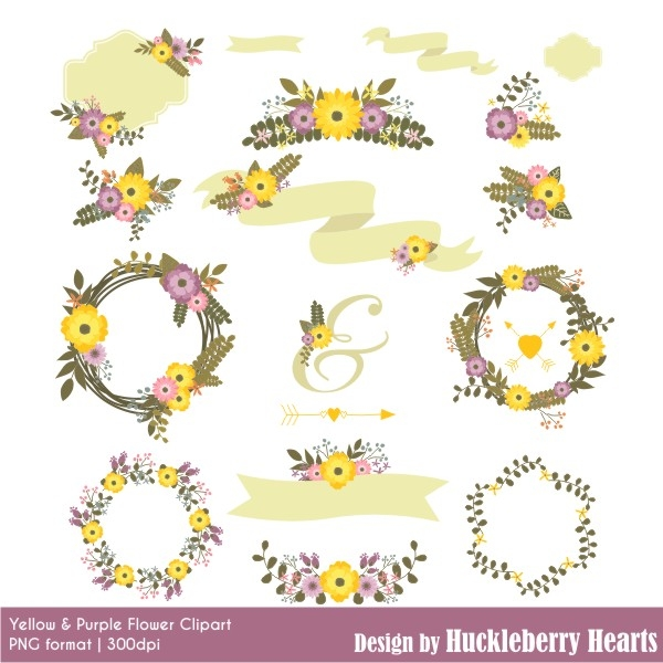floral clipart  flower clipart  wedding clipart  yellow and purple   clip art