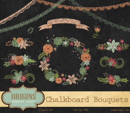 Chalkboard Floral Bouquets Clipart