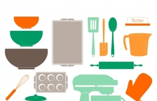 Retro Baking Clipart, Kitchen