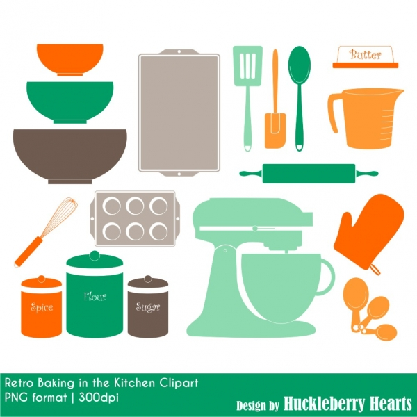 Retro Baking Clipart, Kitchen Clipart, Cooking Clipart