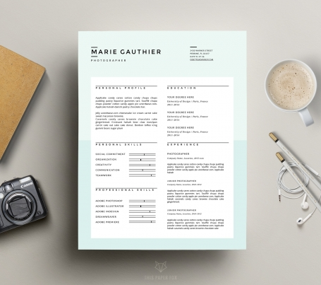 Modern Resume Template + Cover