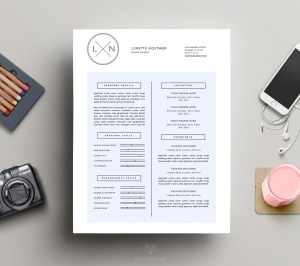 minimal resume design   cover letter    lunette   resumes
