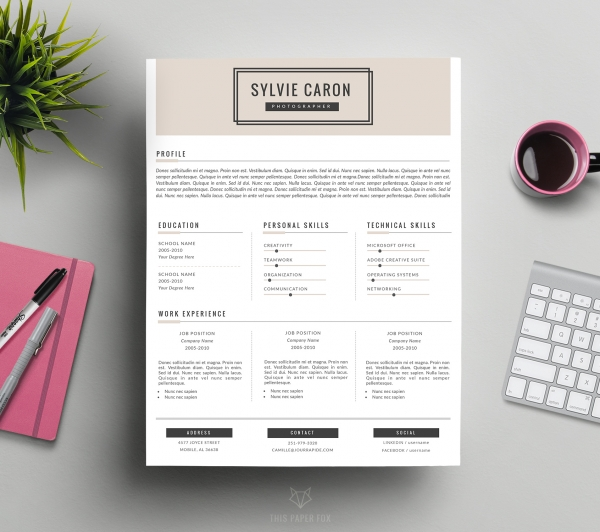 cv template and cover letter for word    sylvie   resumes