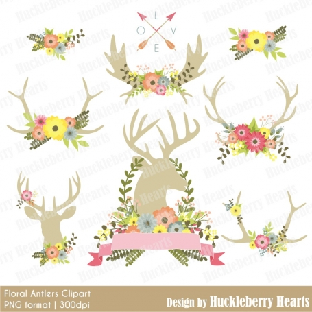 Floral Antlers Clipart, Flowers