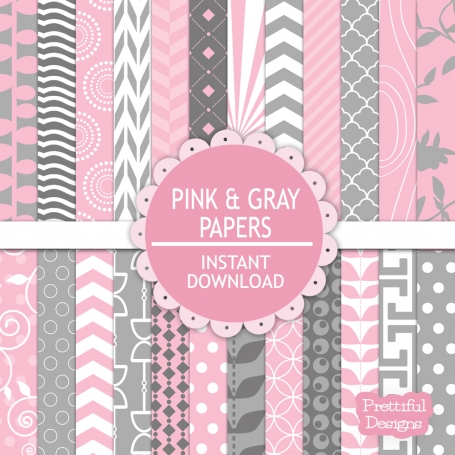 Pink and Gray Digital Paperpack