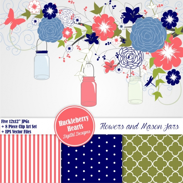 navy blue and coral mason jars clip art and paper set