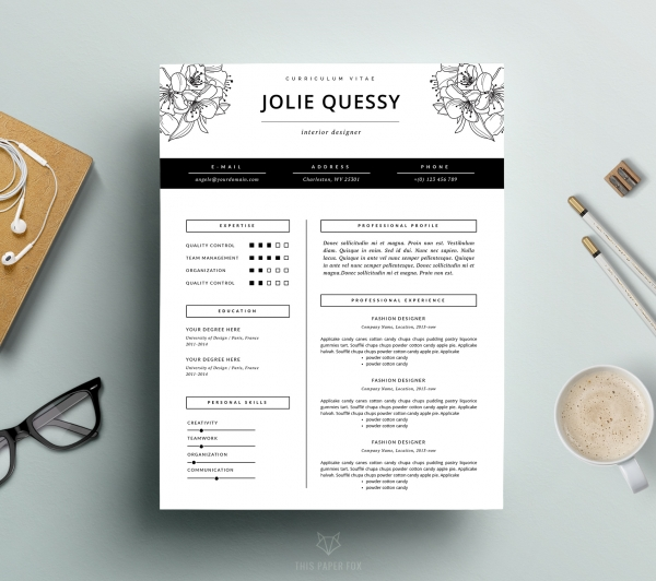 Fashion Resume Template Cover Letter For Ms Business
