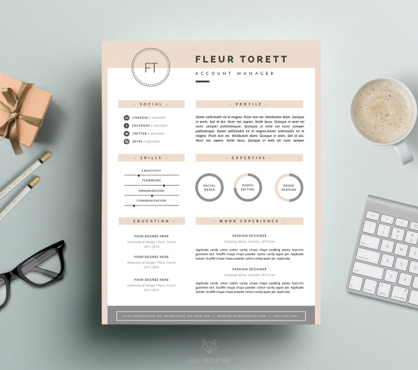 download hipster resume template and cover letter for ms word and pages