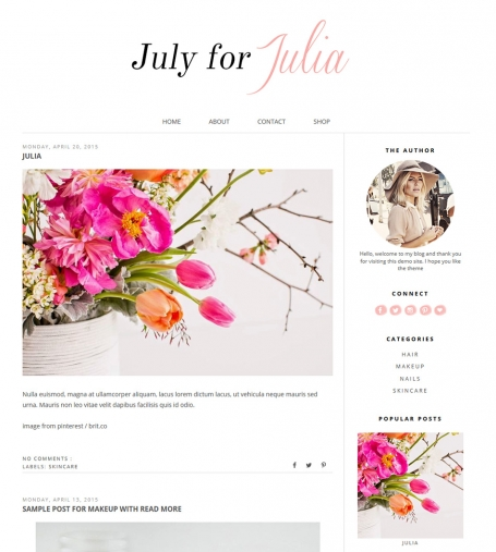 Premade Blogger Template - JULIA