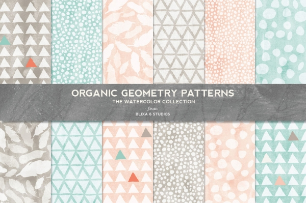 organic geometry watercolor digital patterns   patterns