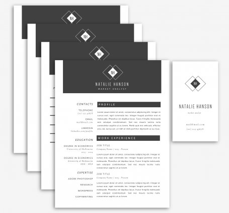 Black and White Resume Package