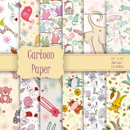 Cartoon Baby Doodles Digital Paper