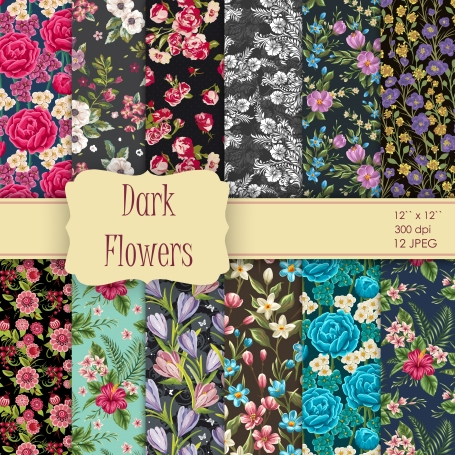 Vintage Shabby Chic Dark Flowers