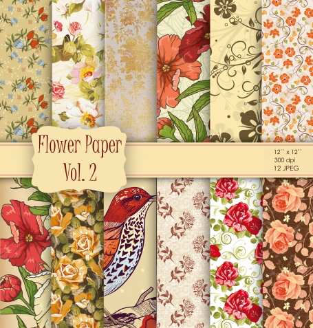 Vintage Beige and Red Flowers