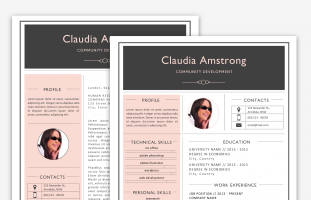 Pink & Grey Resume Pack