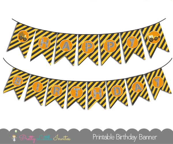 Download Construction Birthday Banner