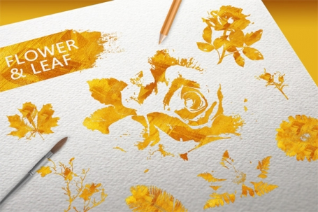 Gold Flower & Leaf elements