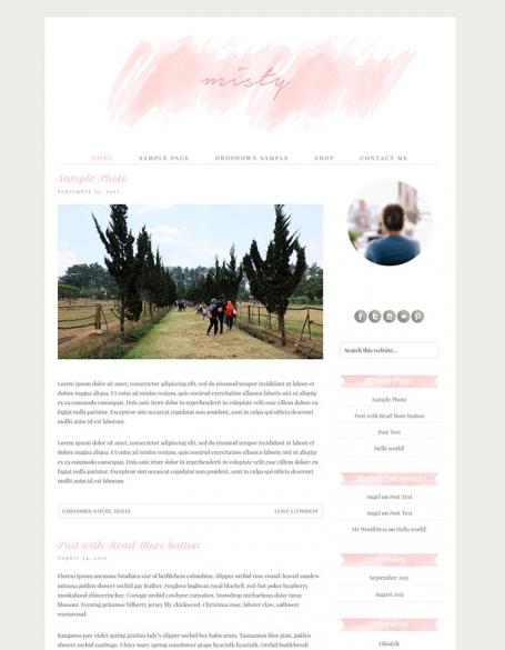 Watercolor Pink Wordpress Theme -