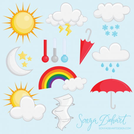Clipart Weather Set: Sun, Clouds,