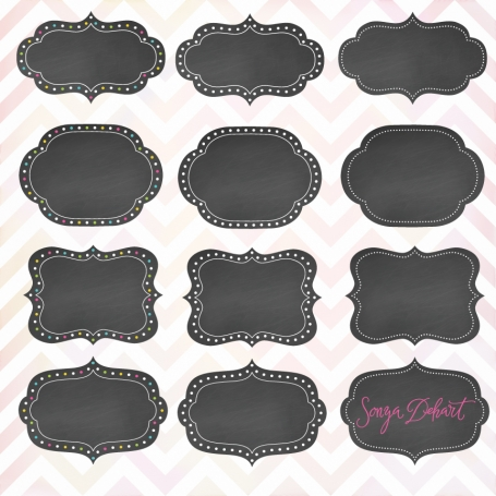 Clipart Dotted Chalkboard Label