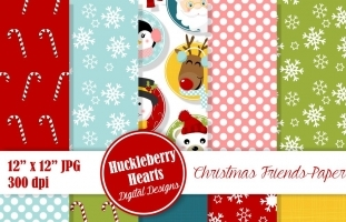 Digital Christmas Faces Paper
