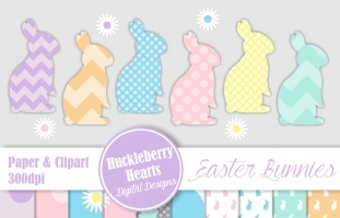 Easter Bunnies Paper and Clipart