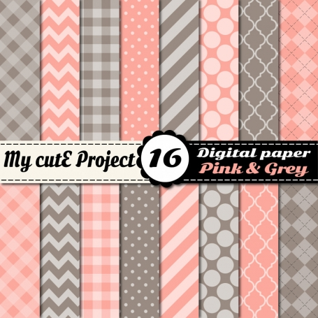 Pink & Grey Digital Paper