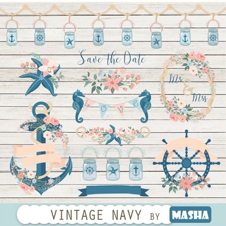 Vintage Navy Clipart