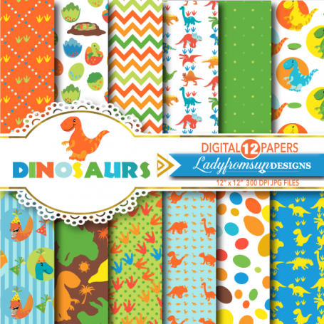 Dinosaur Digital Paper Pack