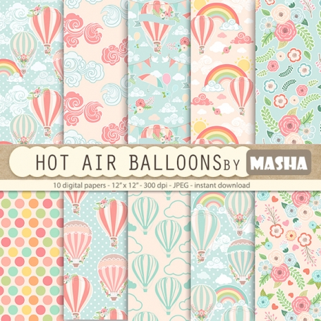 Hot Air Balloons Digital Papers