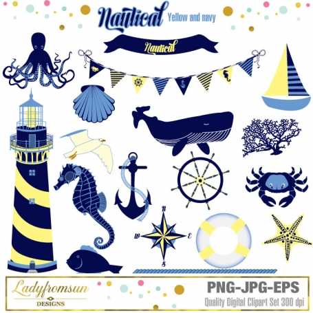 Nautical Yellow and Navy Clipart